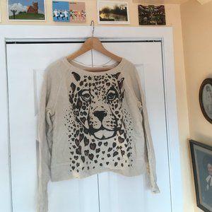 Crewneck sweater, leopard design and elbow detail